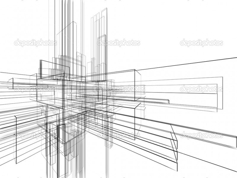 Abstract wireframe at white background